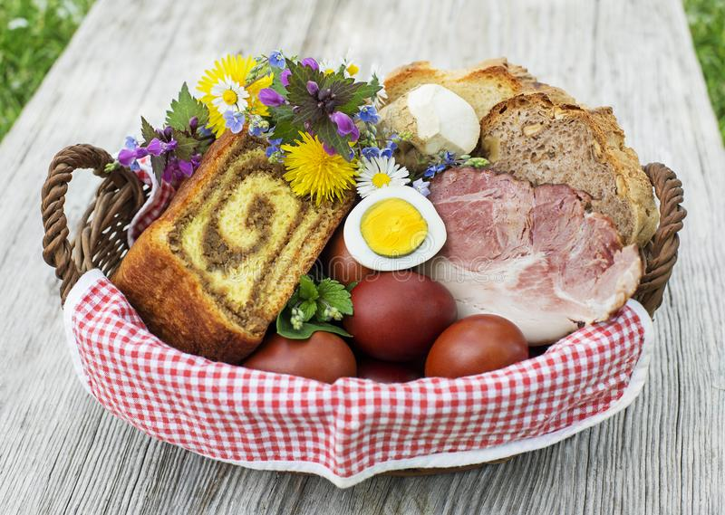 Easter food basket with eggs and ham royalty free stock photography