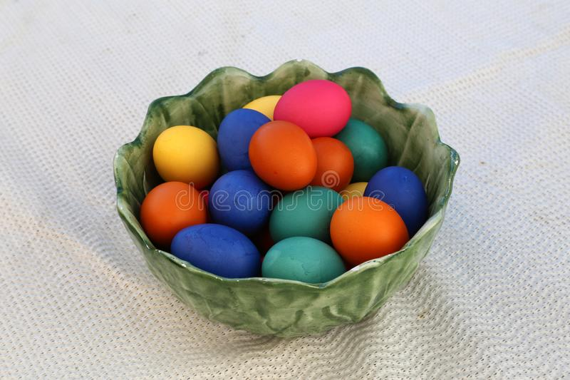 Easter traditions. Compositions with painted Easter eggs stock photos