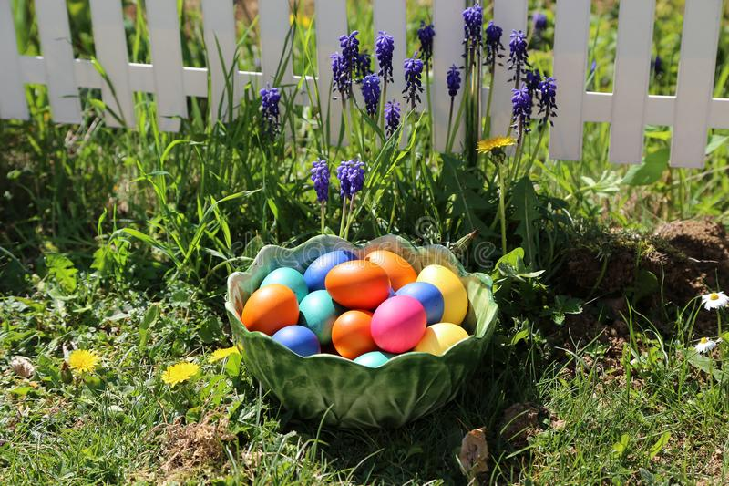 Easter traditions. Compositions with painted Easter eggs royalty free stock images