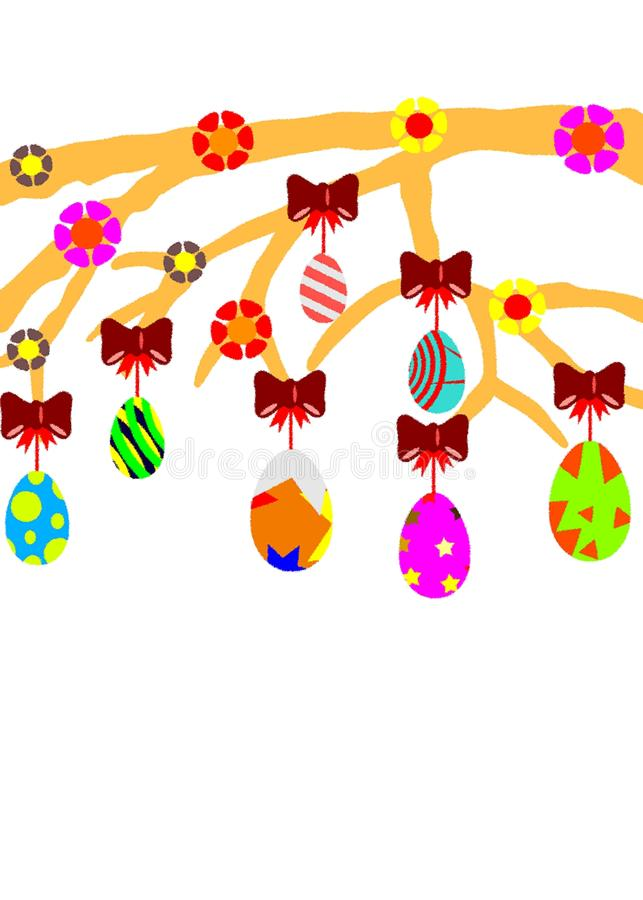 isolated Easter tree with eggs and decorations stock images