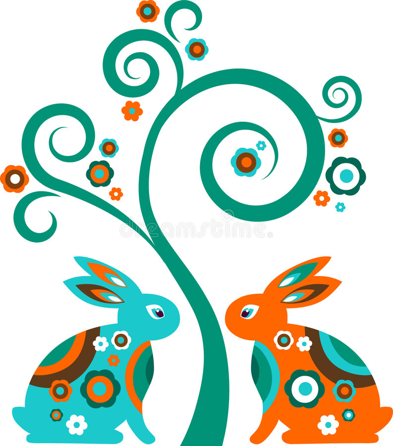 Easter tree with bunnies vector illustration