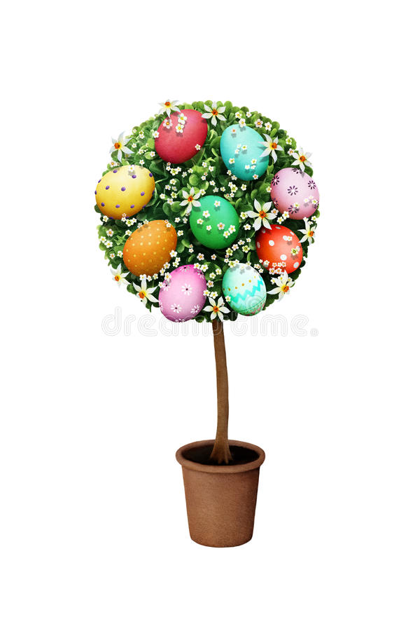 Easter Tree Eggs vector illustration