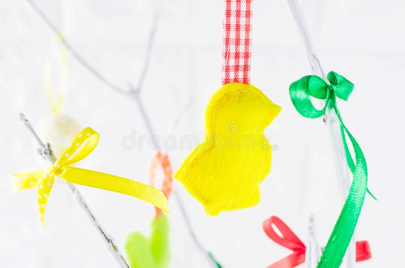 easter tree with felt toys stock photo