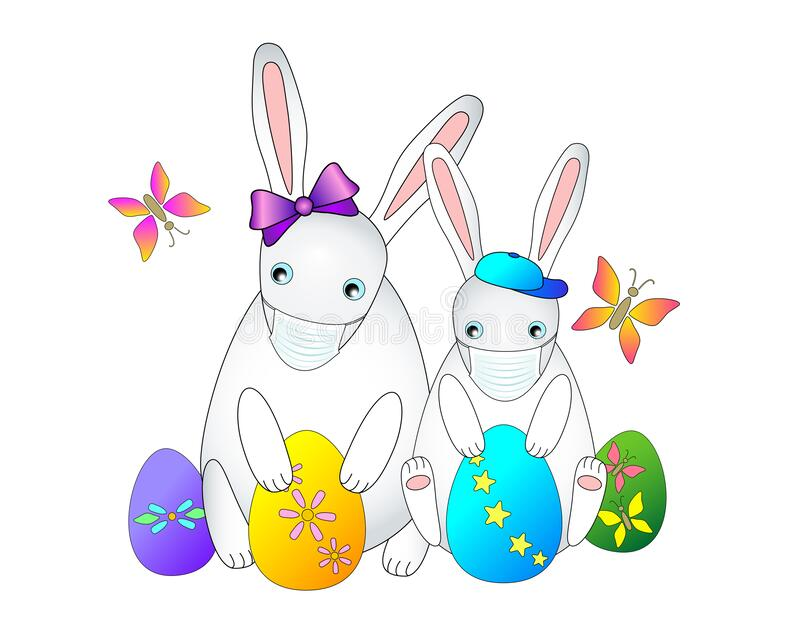 easter two little rabbits medical masks against coronovirus cute girl boy painted eggs butterflies protected 175696412