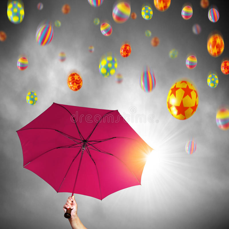Download Easter Umbrella stock photo. Image of painted, beam, gray - 13264378