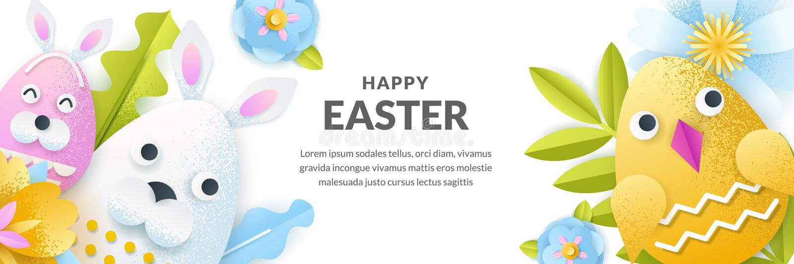 Easter vector banner template. Holiday horizontal background with 3d paper cut cute rabbit and chicken eggs vector illustration