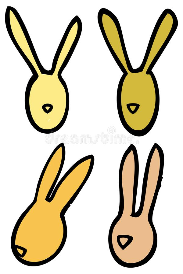 Easter vector linear bunnies rabbits head silhouettes in bright colors royalty free stock photos