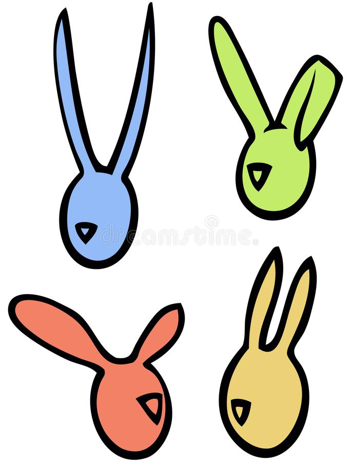 Easter vector linear bunnies rabbits head silhouettes in bright colors vector illustration