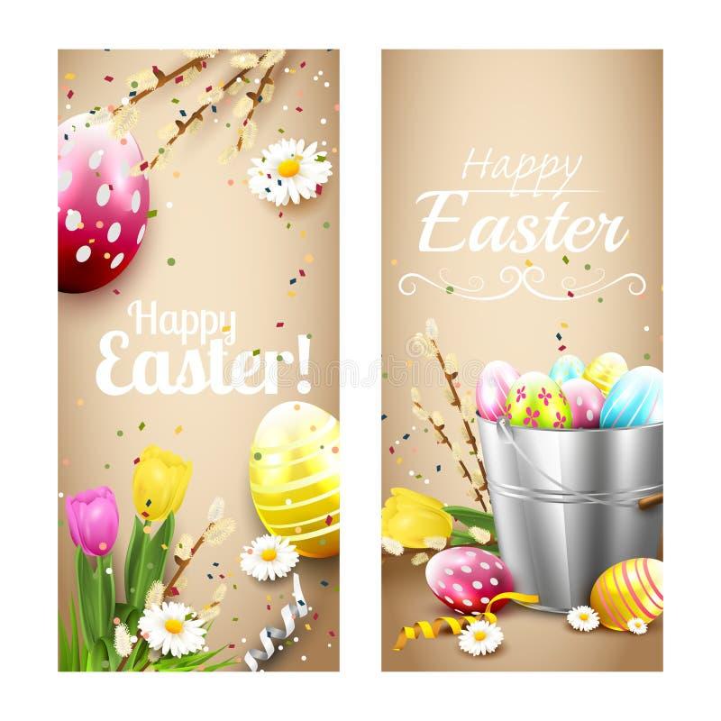 Easter vertical banners vector illustration