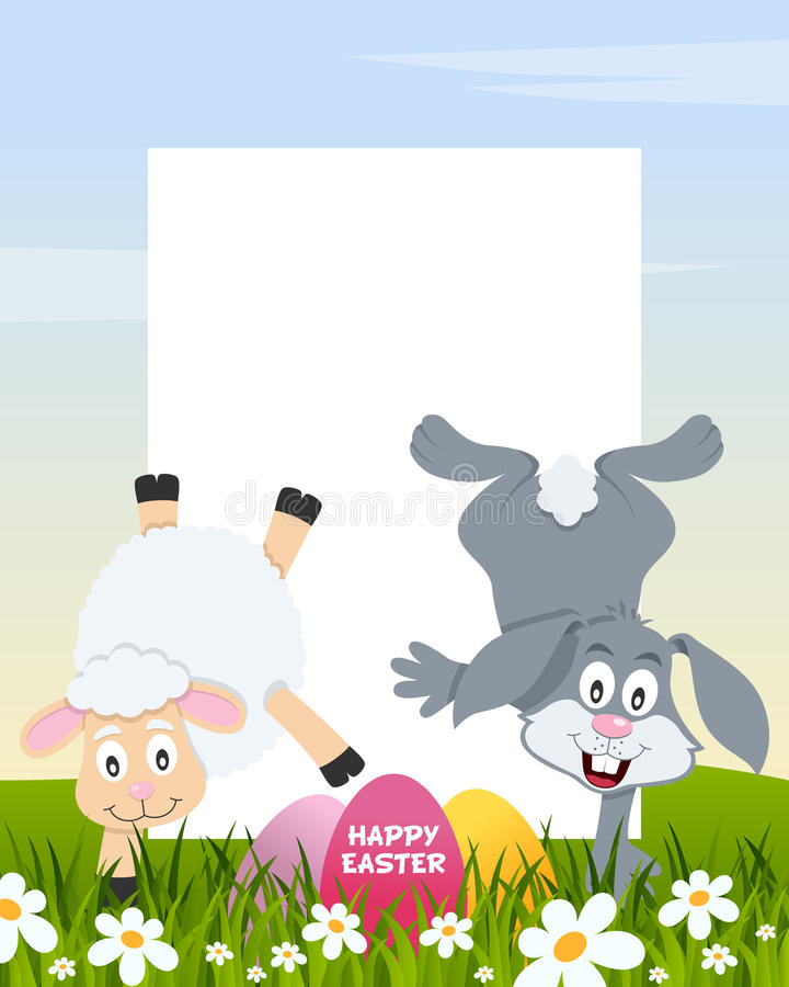 Easter Vertical Eggs - Lamb and Rabbit royalty free stock image