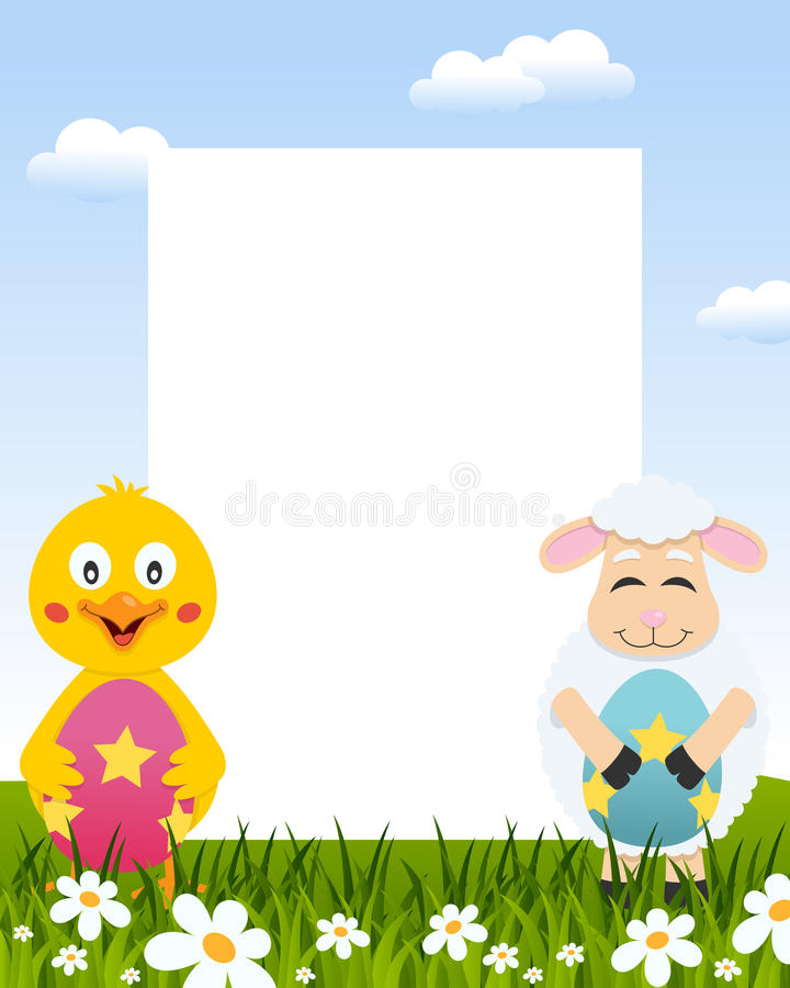 Easter Vertical Frame - Chick & Lamb stock photos