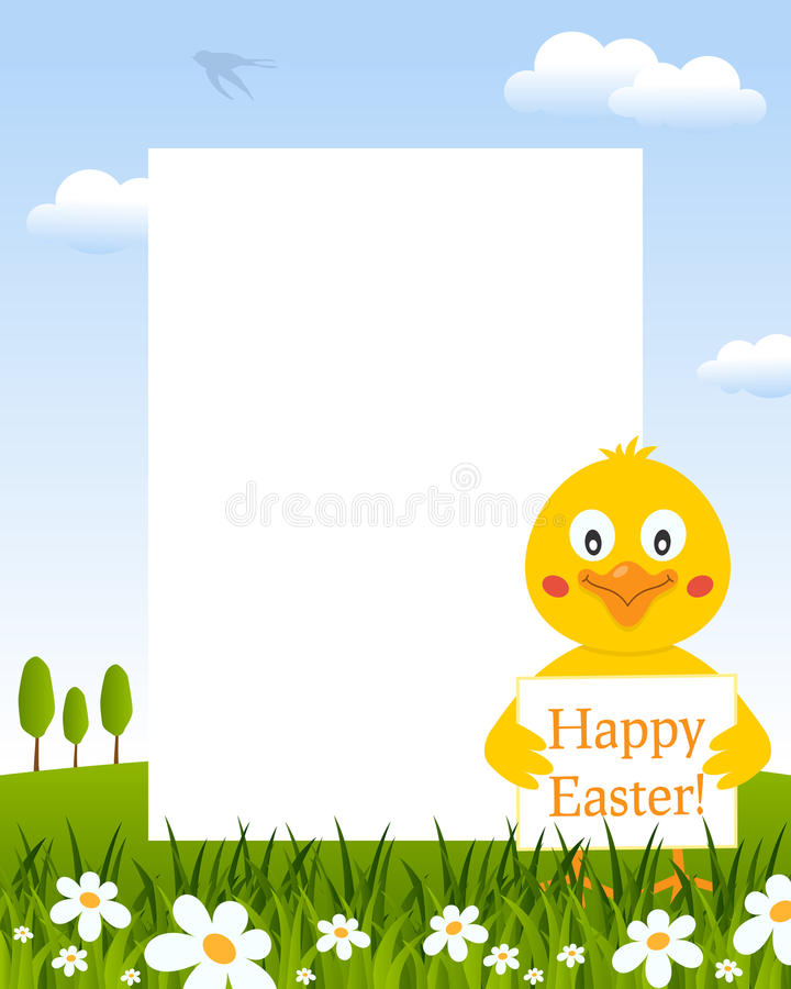 Easter Vertical Frame with Cute Chick royalty free stock image