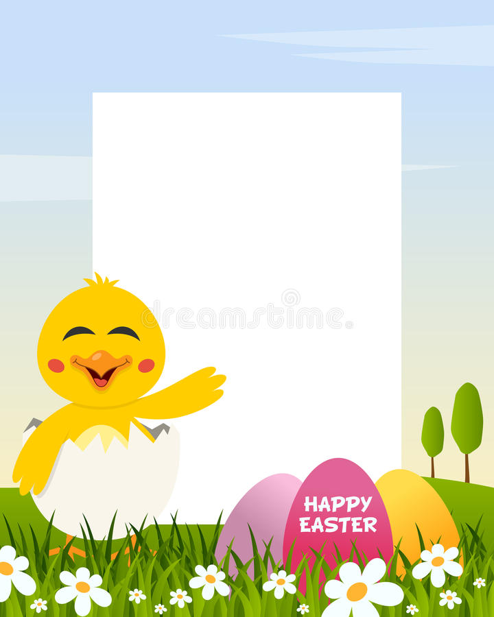 Easter Vertical Frame with Eggs & Chick royalty free stock images