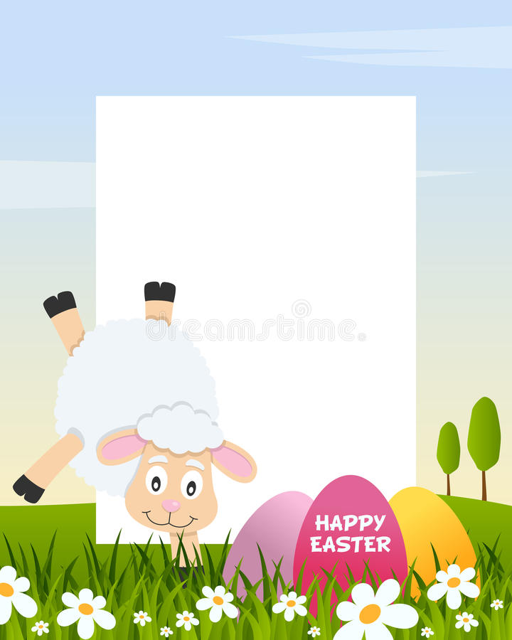 Easter Vertical Frame with Eggs & Lamb stock photo