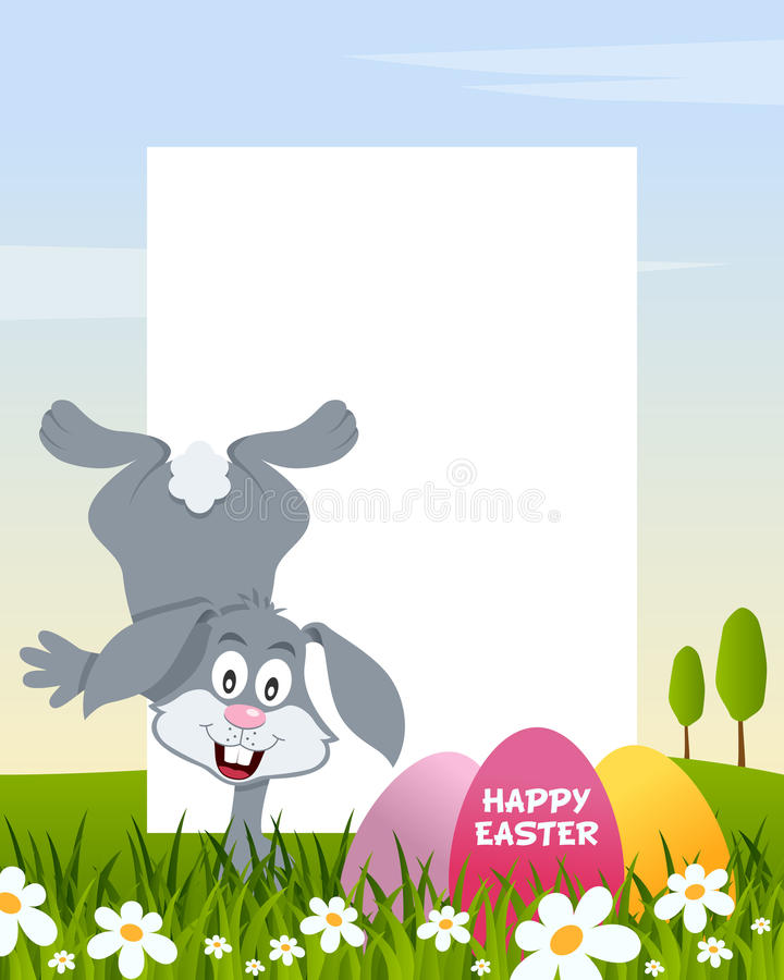 Easter Vertical Frame with Eggs & Rabbit stock images