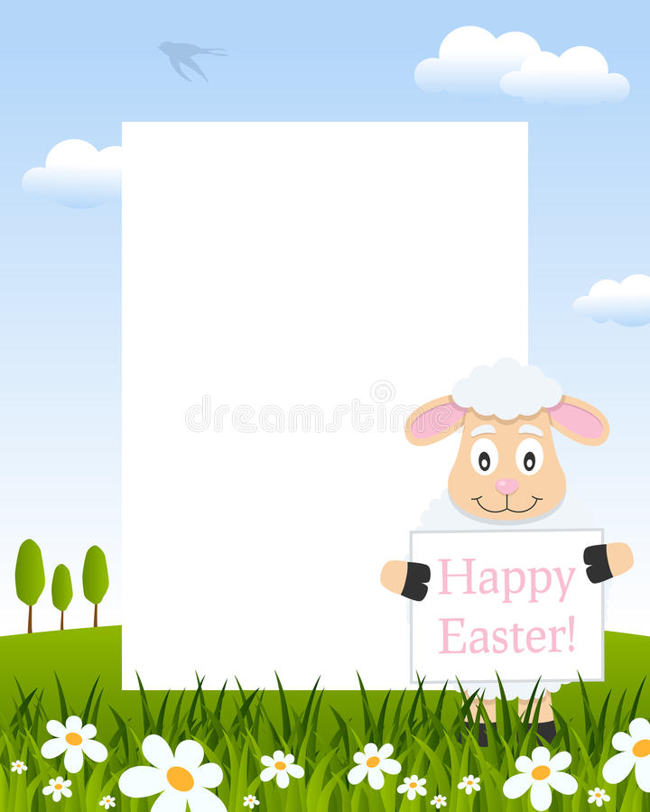 Easter Vertical Frame with Funny Lamb royalty free stock images