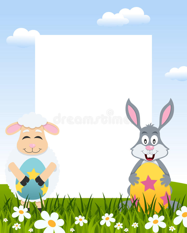 Easter Vertical Frame - Lamb & Rabbit stock photo