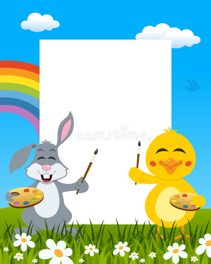Easter Vertical Painters - Rabbit & Chick royalty free stock images