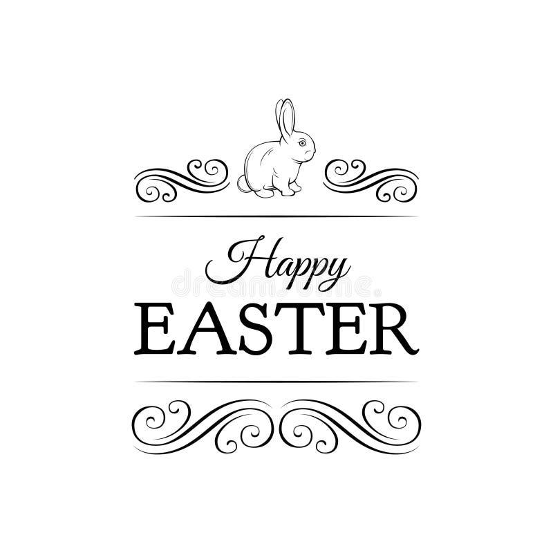Easter vintage hand drawn vector illustration. Easter bunny. royalty free illustration