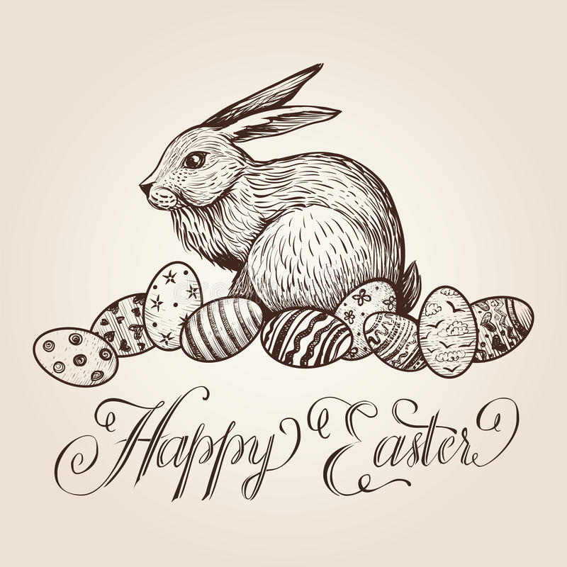 Easter vintage vector hand drawn illustration with lettering, bunny and festive eggs. vector illustration