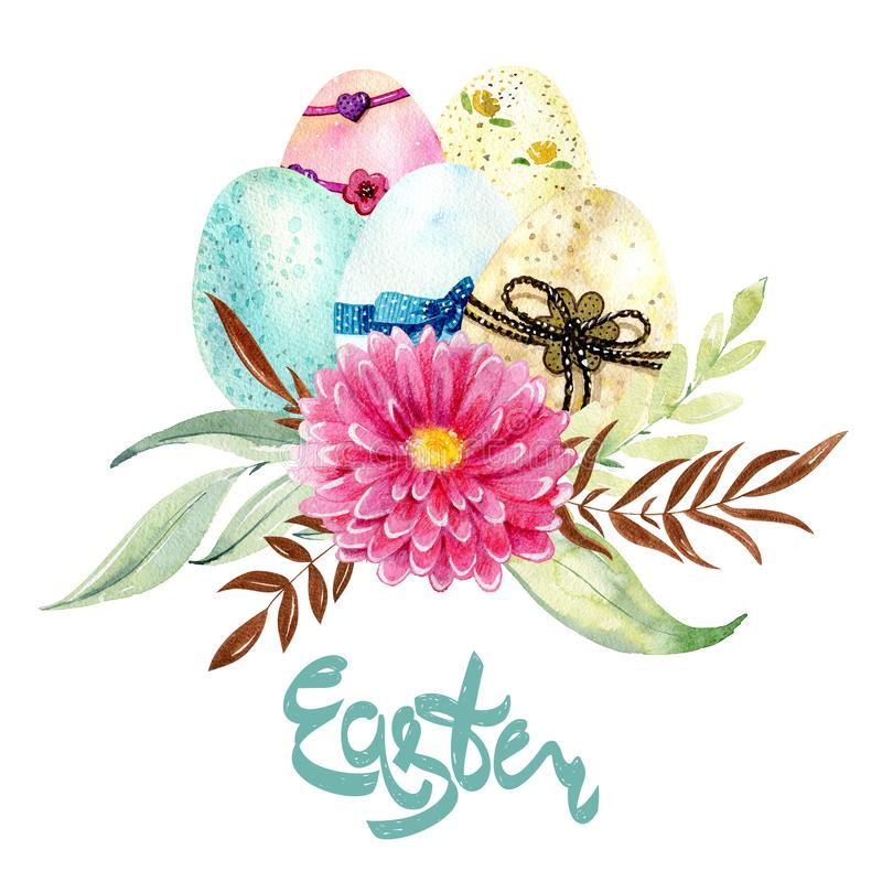 Easter watercolor card. royalty free illustration