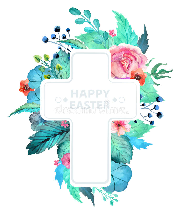 Easter watercolor natural illustration with cross sticker vector illustration