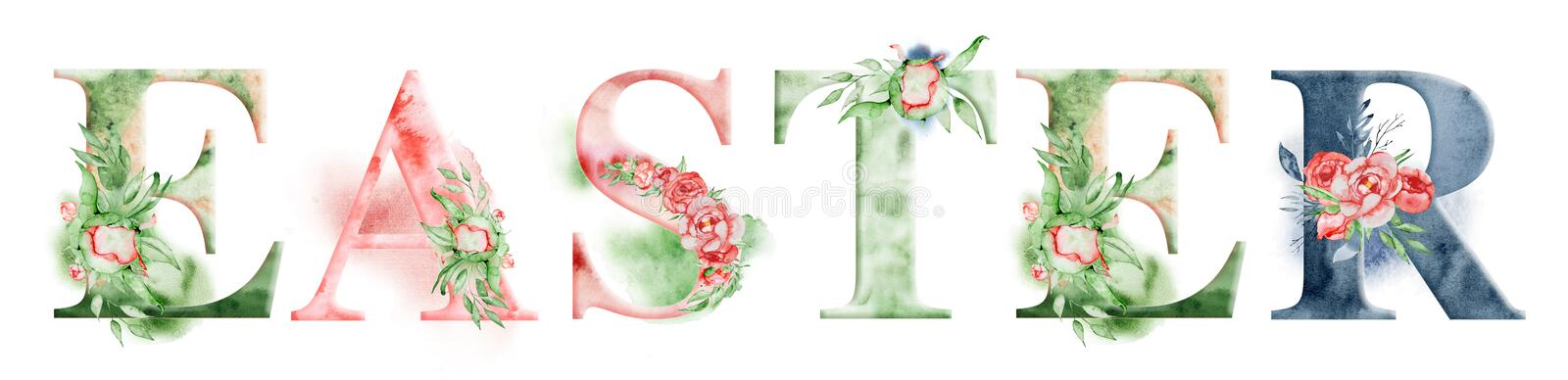 Easter watercolor word design with floral bouquets and crown. Hand drawn lettering, typography inscription. Inspiring label vector illustration