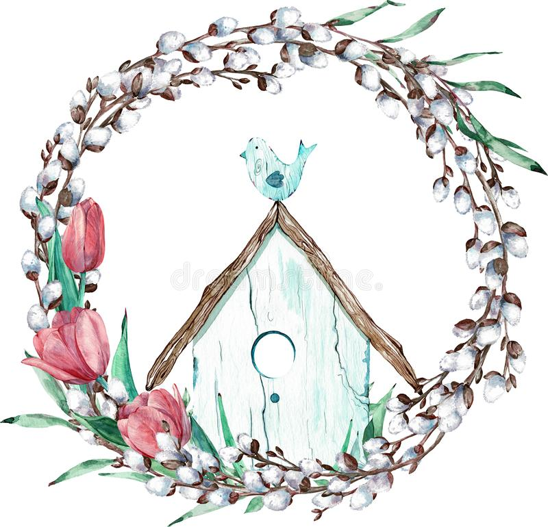 Easter willow wreath with tulips and bird sitting on its house. Watercolor illustration stock illustration