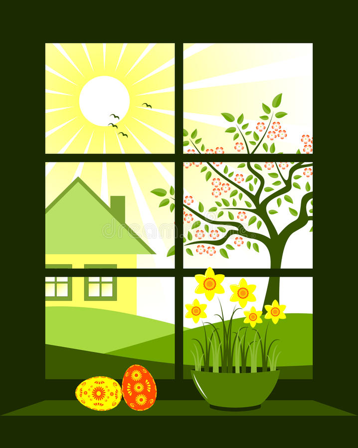 Download Easter window stock vector. Image of landscape, flores - 18631953
