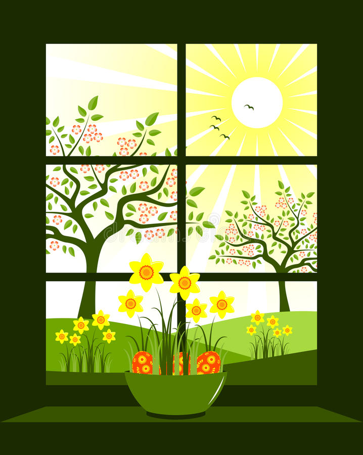 Download Easter window stock vector. Image of countryside, home - 18838143