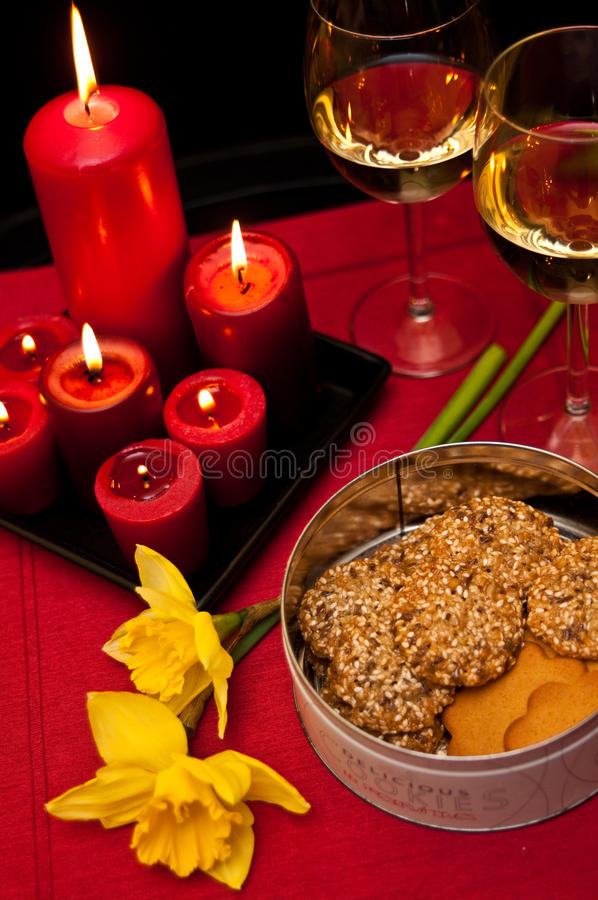 Candles Wine And Cookies Stock Photo
