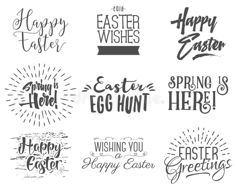 Easter wishes overlays, lettering labels design set. Retro holiday easter badges. Handdrawn emblem with ribbon. Isolated stock illustration