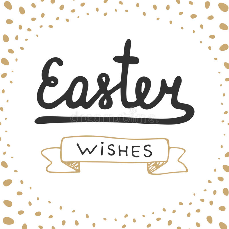 Easter wishes vector typography design elements for greeting cards, invitation, prints and posters. royalty free illustration