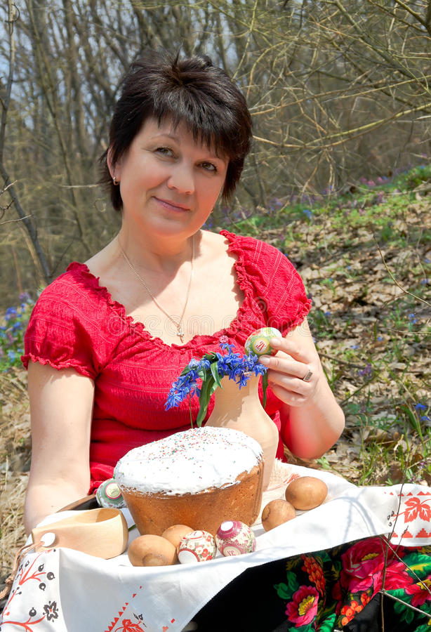 Download Easter. Woman With Easter Cake Stock Photo - Image: 23383022