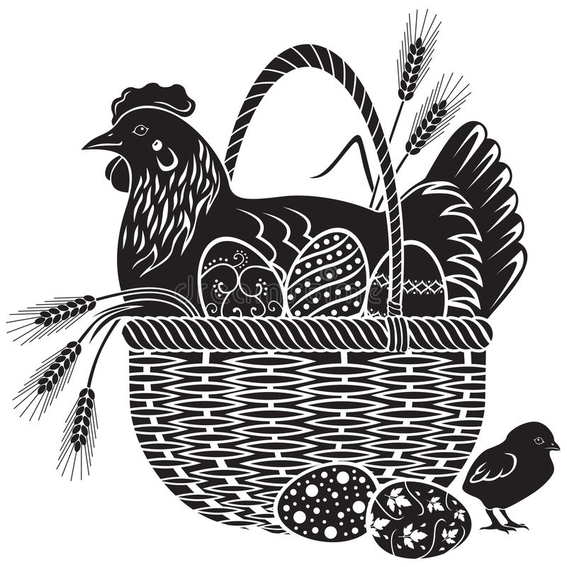 Easter woodcut vector illustration