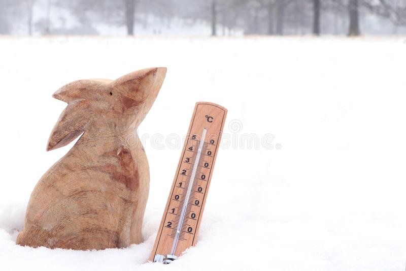 Easter wooden bunny with thermometer in snow stock photo