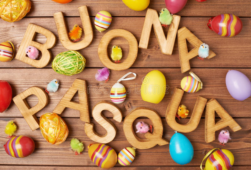 Easter wooden letter composition stock images