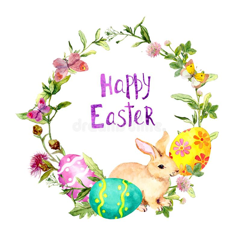 Easter wreath with bunny, colored eggs in grass, flowers. Circle frame with text Happy Easter . Watercolor stock illustration