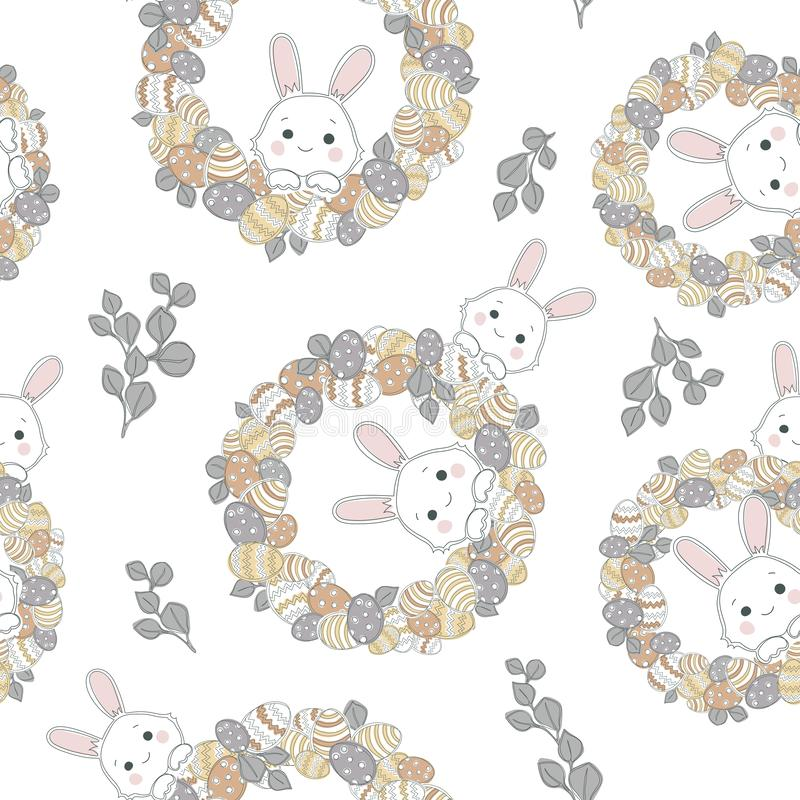 Easter wreath with easter eggs hand drawn seamless pattern on white background. vector illustration