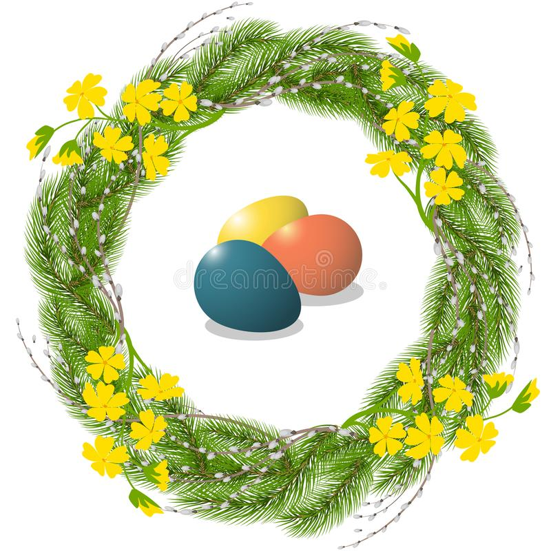 Easter wreath and eggs vector illustration