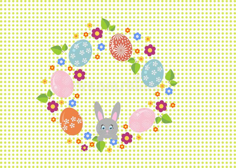 Easter wreath with easter eggs on white background. Decorative doodle frame from Easter eggs and floral elements. royalty free illustration