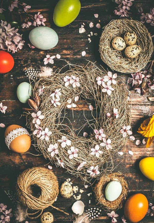 Free Easter Wreath On Dark Stock Image - 108905511