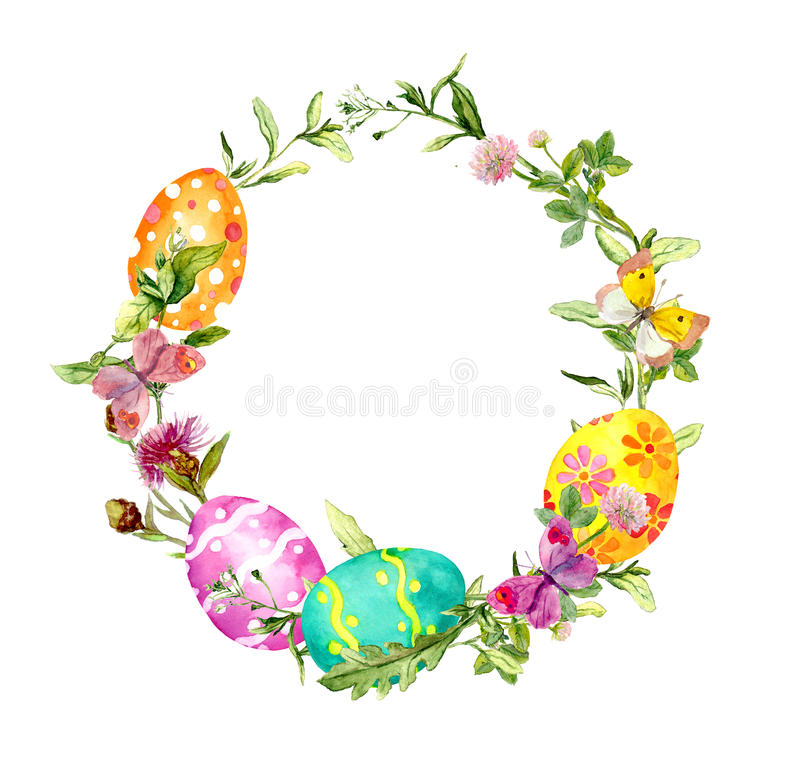 Free Easter Wreath With Colored Eggs In Grass And Flowers. Round Frame. Watercolor Royalty Free Stock Photos - 87290178
