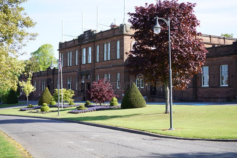 Easterbrook Hall Crichton Estate Dumfries Scotland and statue of Elizabeth Crichton. The Crichton estate in Dumfries and Galloway, south west Scotland. It stock images
