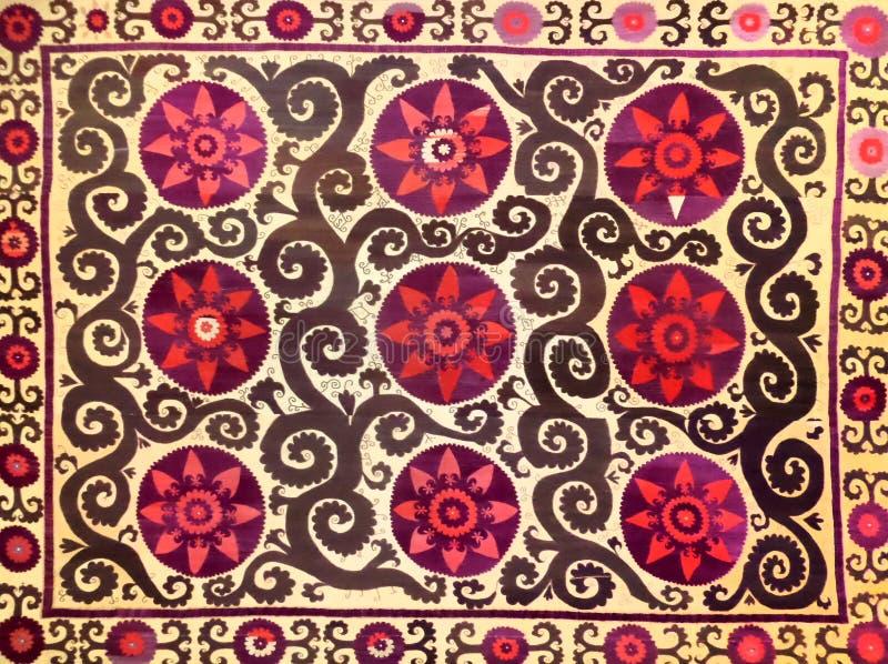 Eastern arabic decorative embroidery pattern. Silk fabric material, eastern arabic islamic decorative embroidery pattern royalty free stock photography