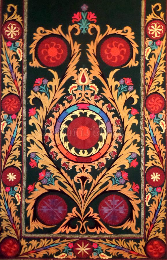 Eastern arabic decorative embroidery pattern. Silk fabric material, eastern arabic islamic decorative embroidery pattern royalty free stock photos