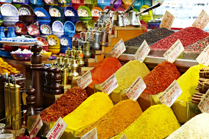Eastern bazaar - spices, coffee Turks and hand royalty free stock photos