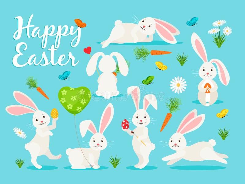 Eastern bunny banner design. Eastern bunny vector illustration. Happy rabbit for easter banner collection royalty free illustration