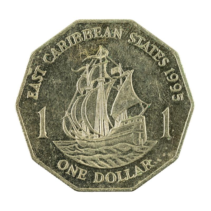 1 eastern caribbean dollar coin 1995 obverse. Isolated on white background royalty free stock images