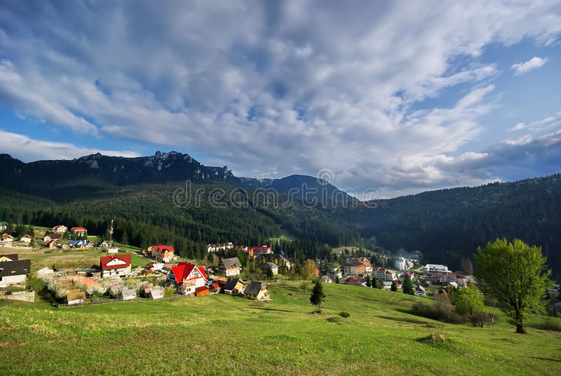Eastern Carpathians, Durau. Located at an altitude of 800 meters, this is the perfect place for rest, relaxation and winter sports. Durau has a lot of hotels royalty free stock photography